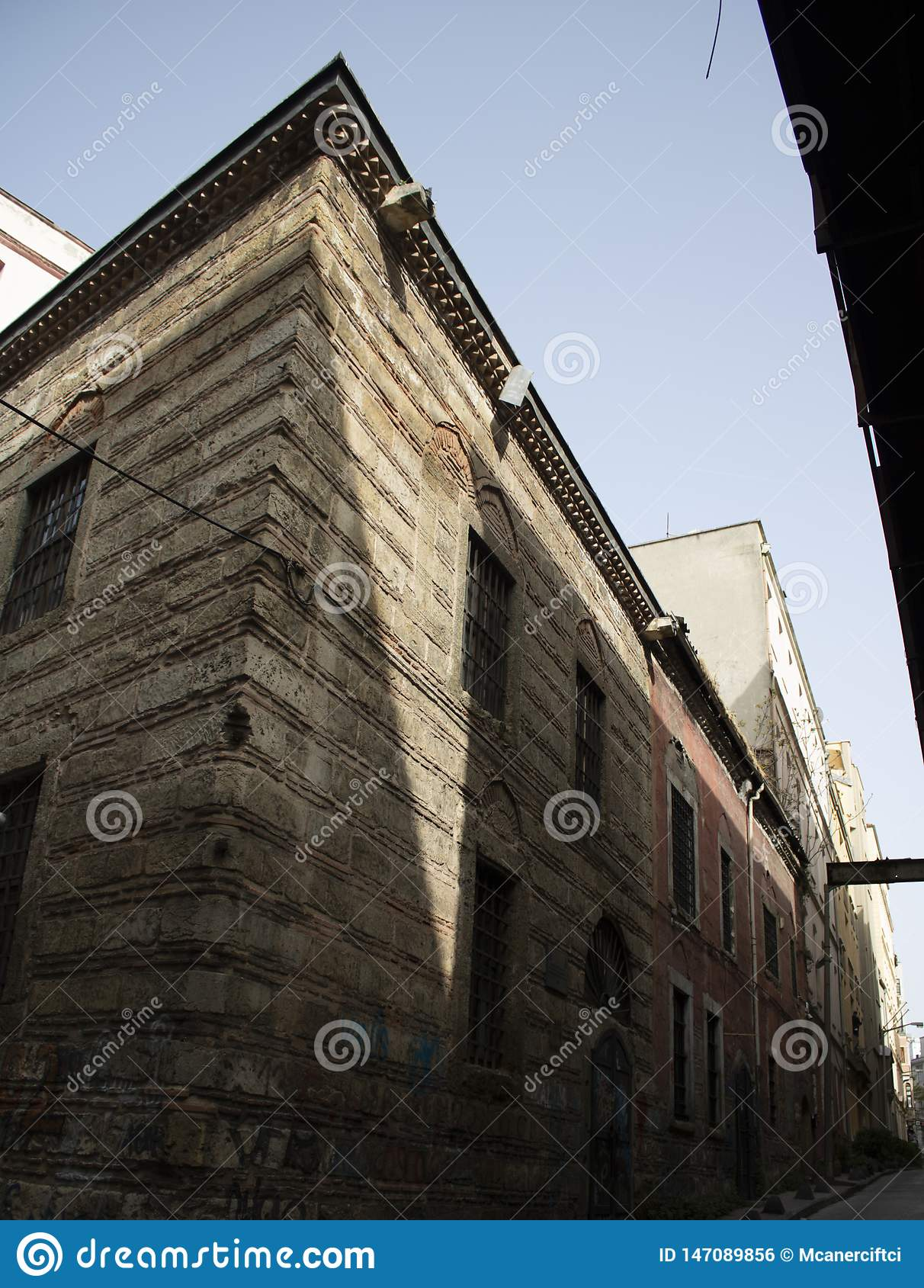 Shoot of old architectural buildings inside the street