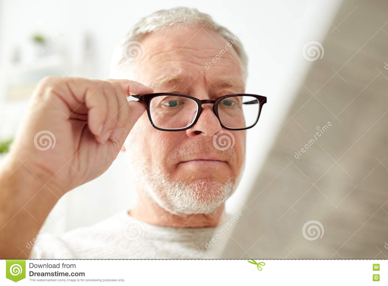 Close Up Of Old Man In Glasses Reading Newspaper Stock Image - Image of  living, fresh: 78424063