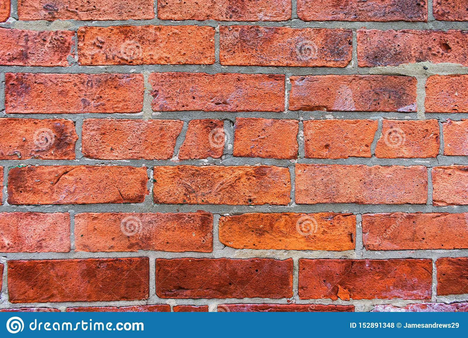 Close Up of an Old Uneven Red Brick Wall Background