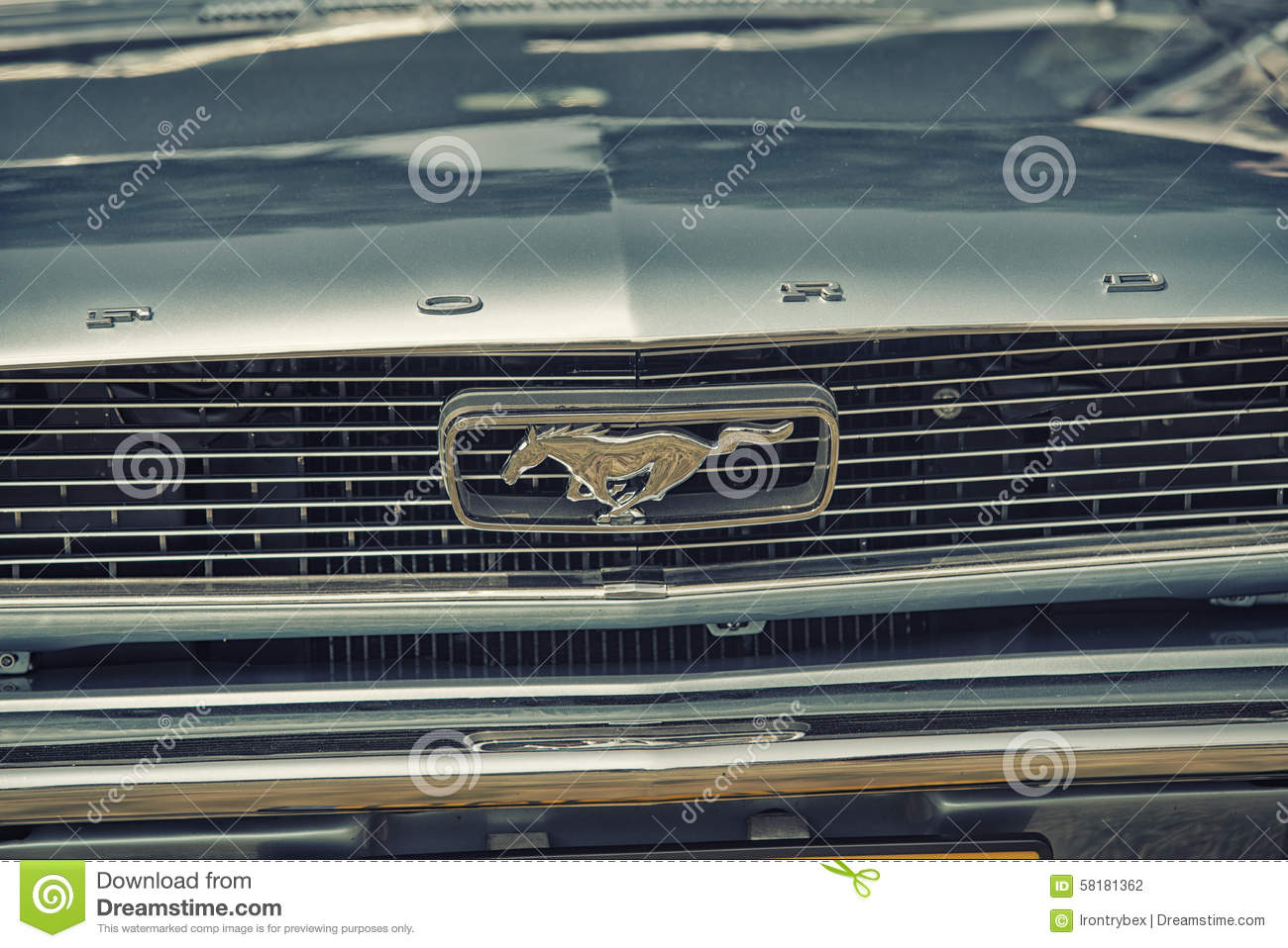 Close up on old vintage ford mustang logo