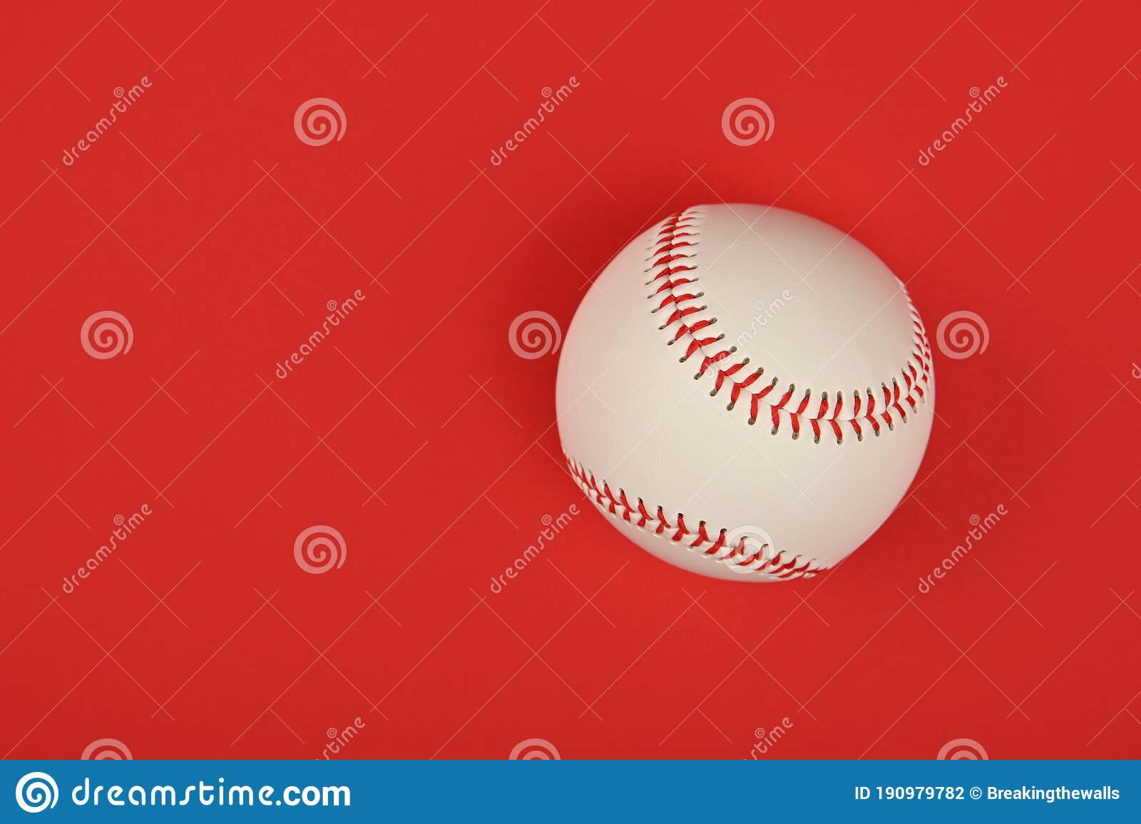Close Up One Baseball Ball Over Red Stock Photo Image Of Threat Sports 190979782