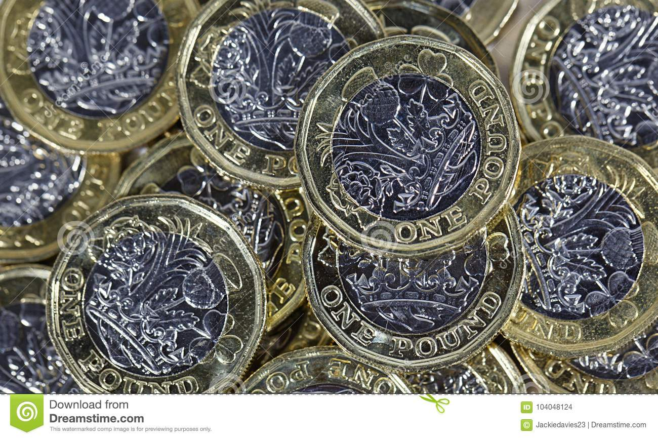 Close up of One Pound Coins - British Currency
