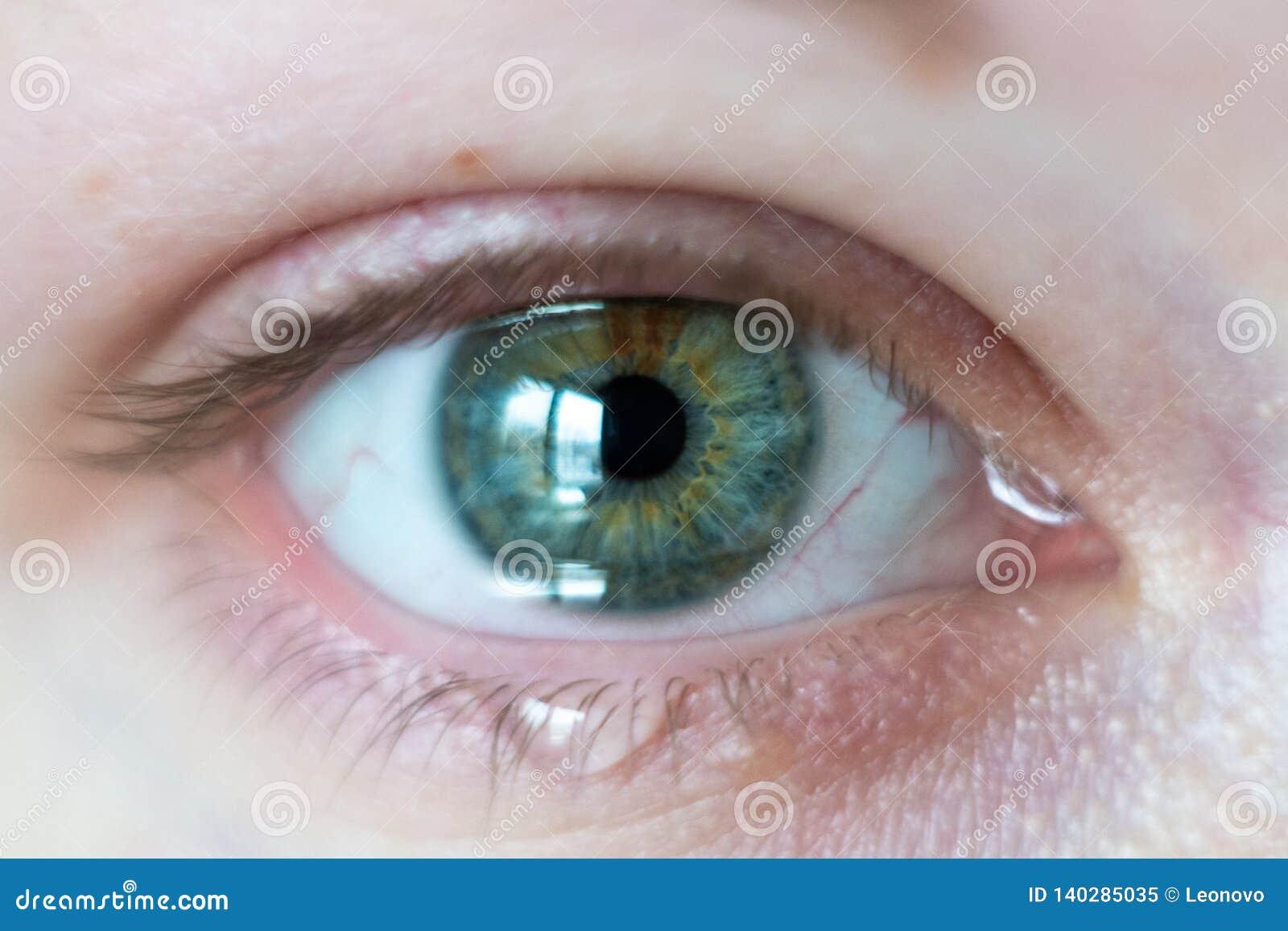 Close-up op vrouwelijk groen open oog met scheuren die uit stromen