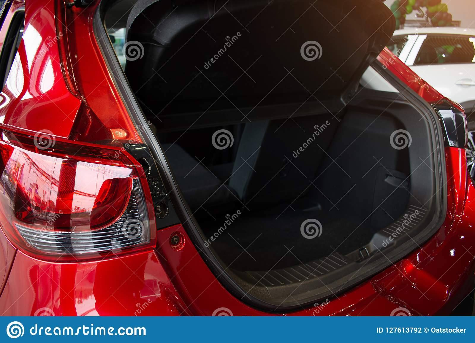 Close Up Open Car Tail Light Red Color On Service Stock Photo