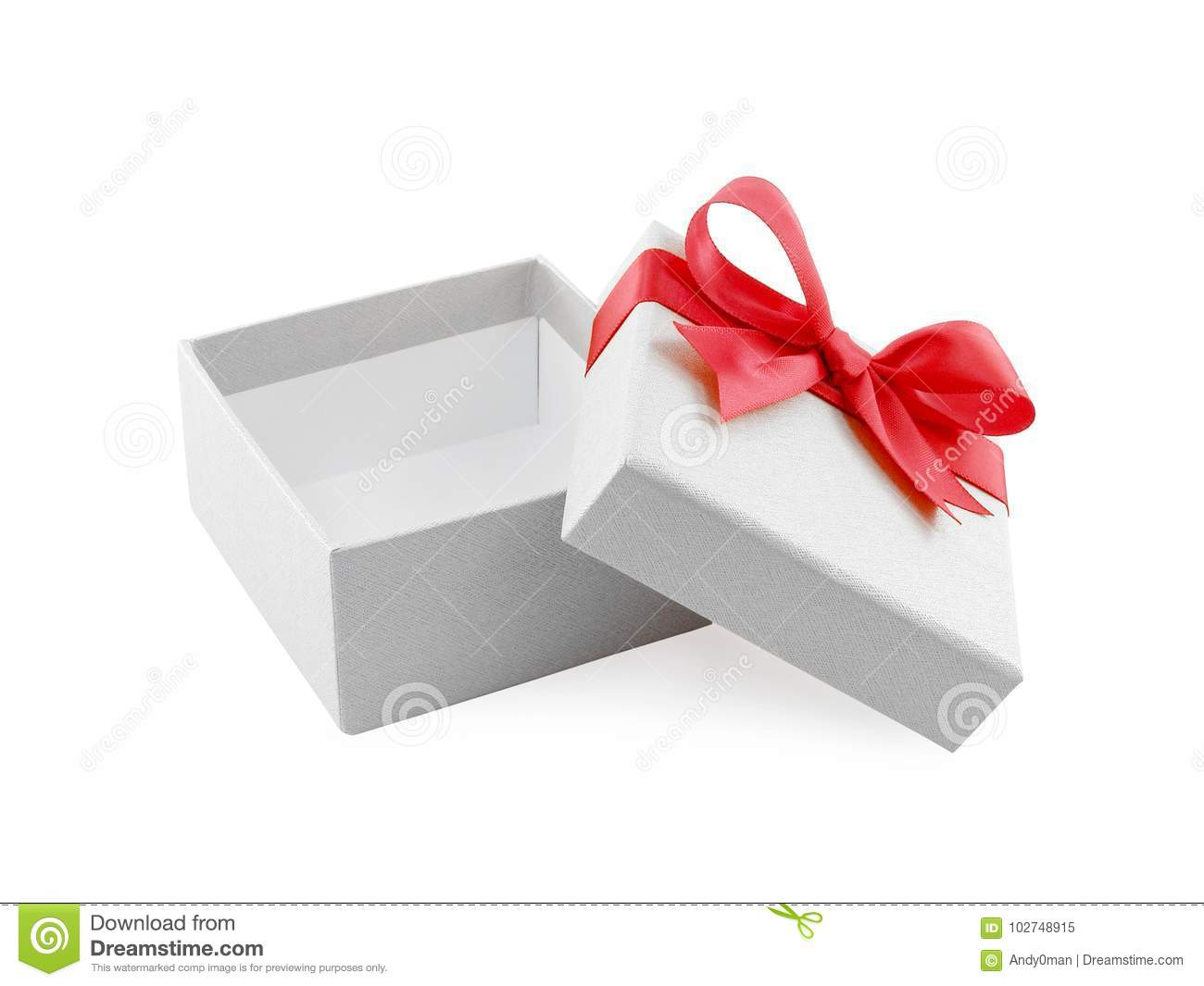 open and empty single white gift box with simple red ribbon bow wrapped around the lid isolated on white background