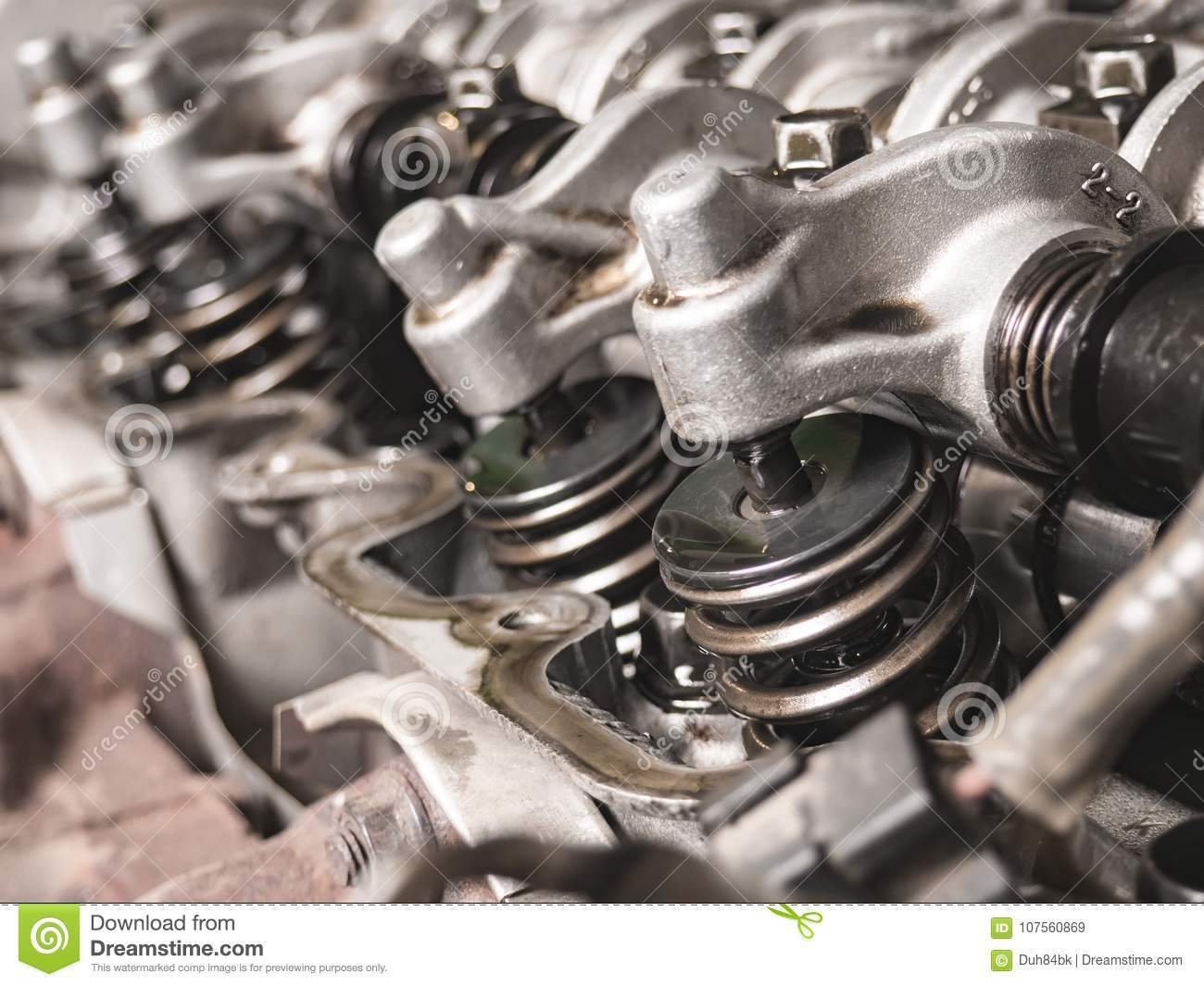 Close-up Of Opened Automobile Engine Cylinder Head Stock