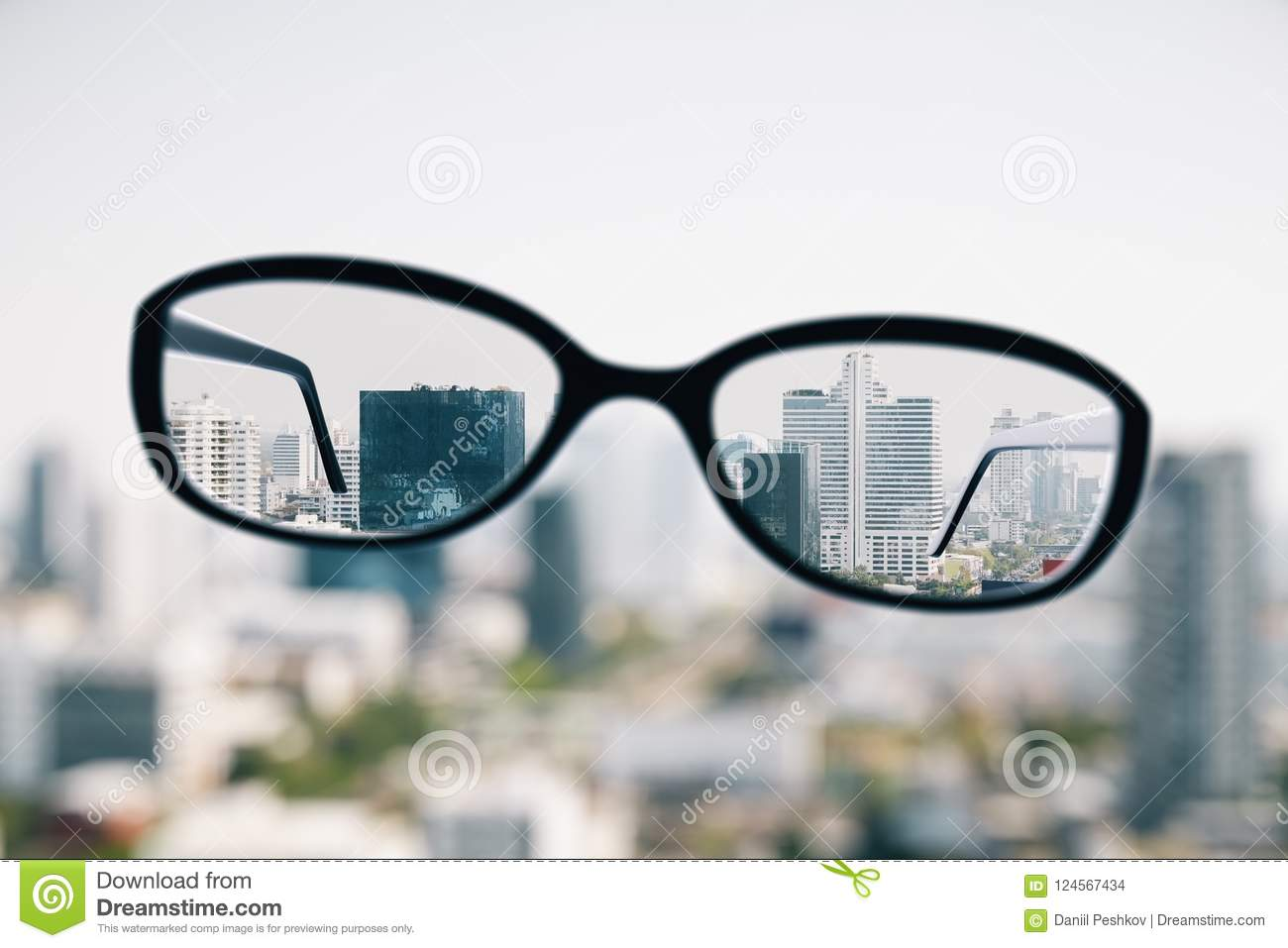 1d4f010c919 Close up of optical glasses on blurry city background. Clean vision  concept. 3D Rendering. More similar stock illustrations