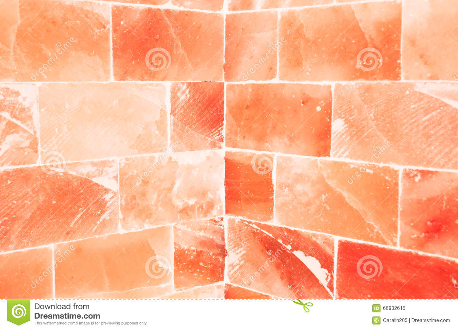 Close-up of orange salty wall inside sauna room