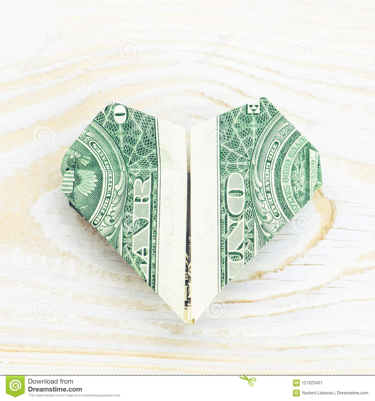 Close Up Of Origami Heart Of Banknote Origami Made Of A Dollar