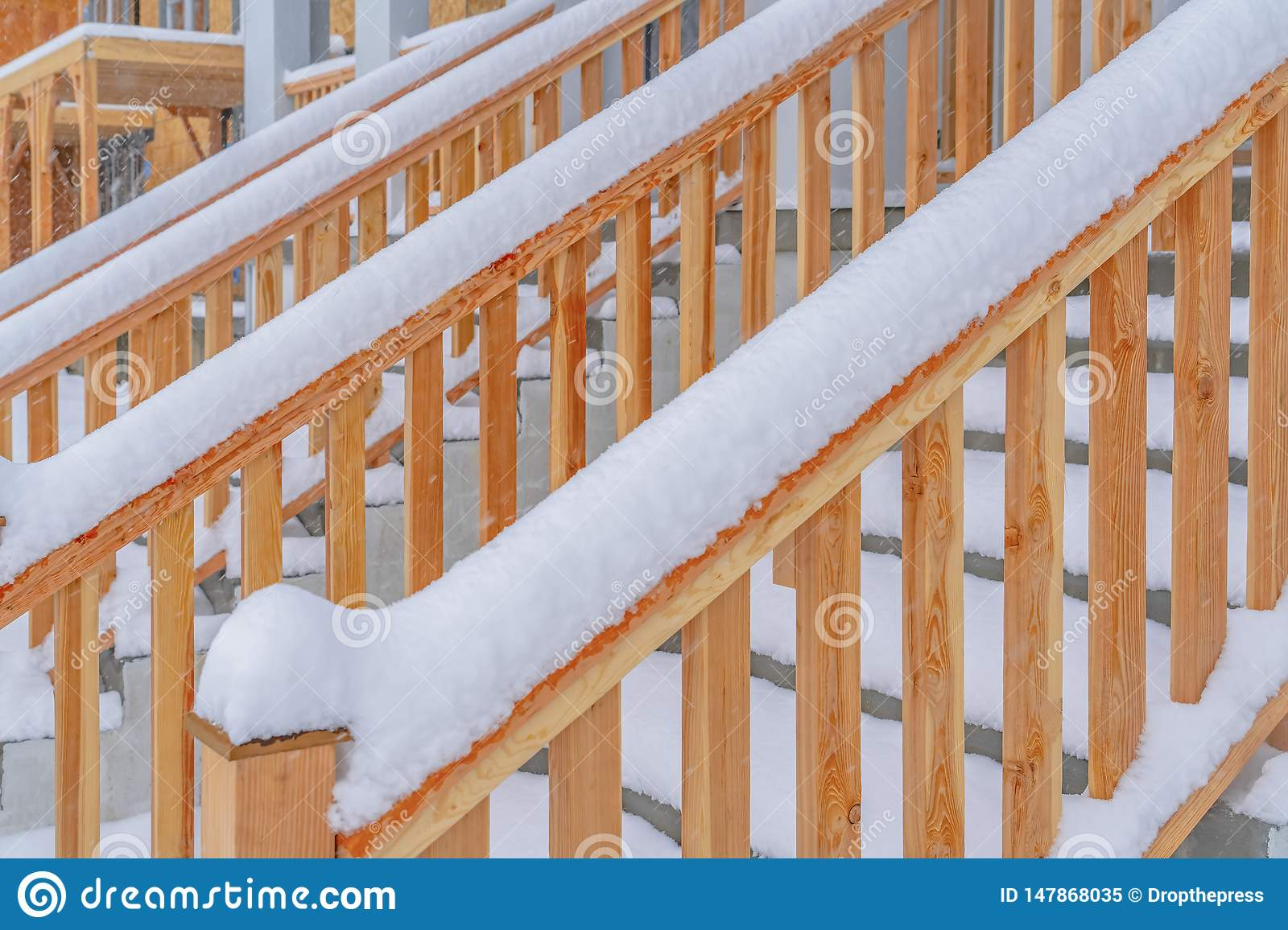 Image of: Close Up Of The Outdoor Stairs Of A Home In Daybreak Utah During Winter Stock Image Image Of Entrance Landscape 147868035