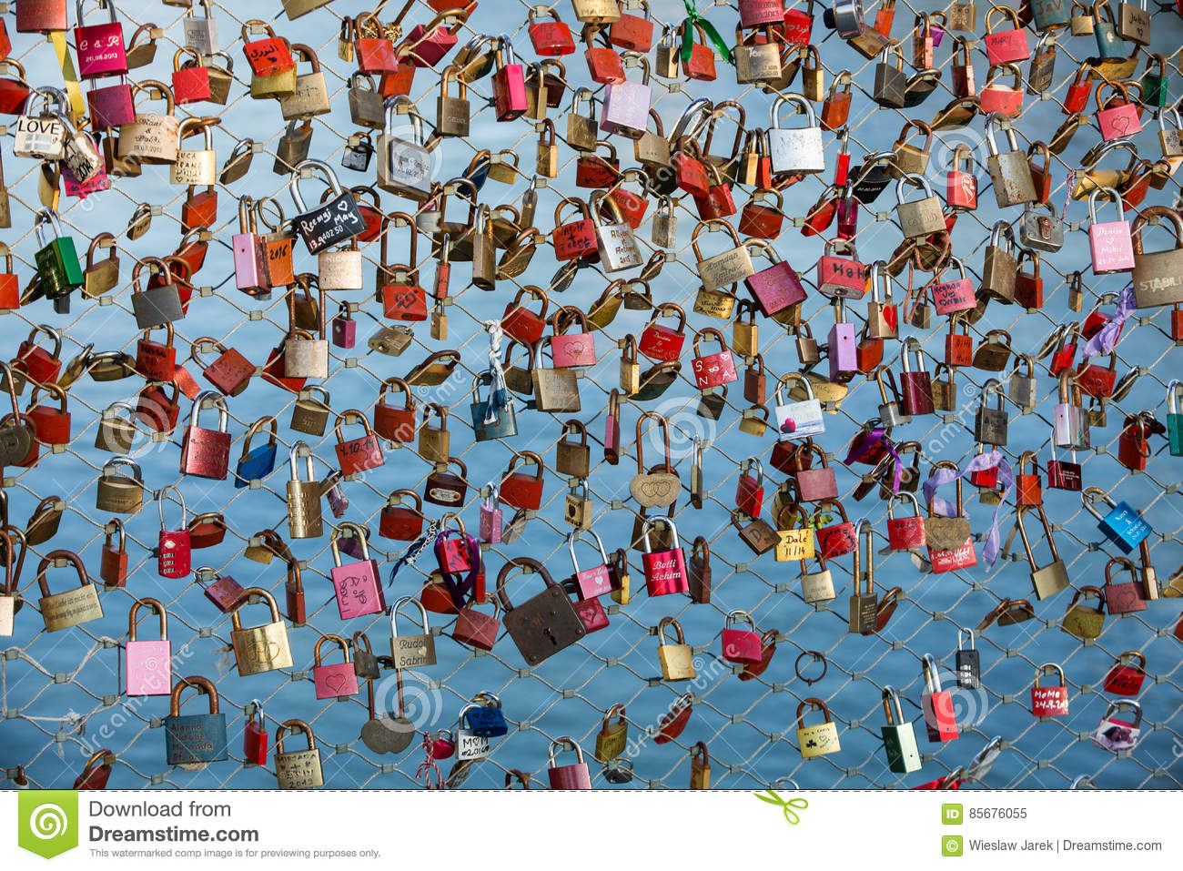 Close up of padlocks as a symbol of everlasting love at a bridge close up of padlocks as a symbol of everlasting love at a bridge in salzburg austria over the river salzach hang ceremony biocorpaavc