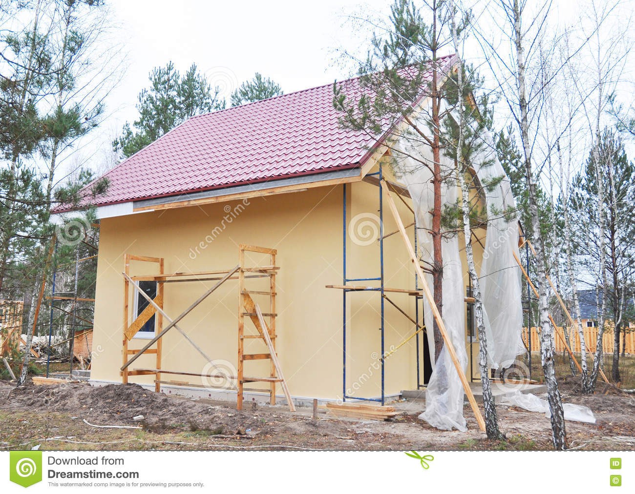 Painting and plastering exterior house scaffolding wall for Time saver details for exterior wall design