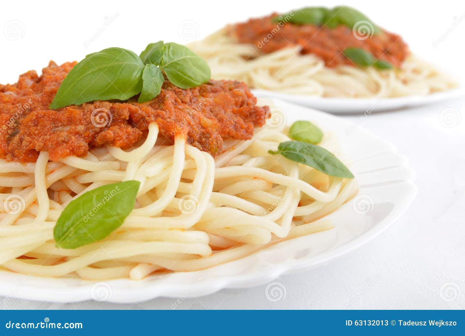 Close Up Pasta Ragu Alla Bolognese Sauce On White Stock Image