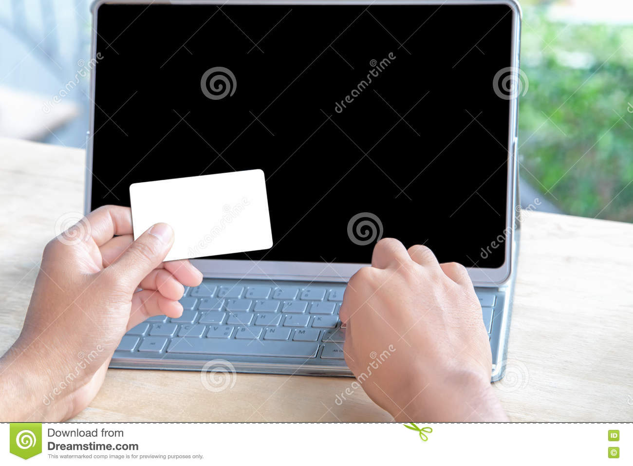 Close-up Of Person Holding Empty Credit Card Or Business Card An ...