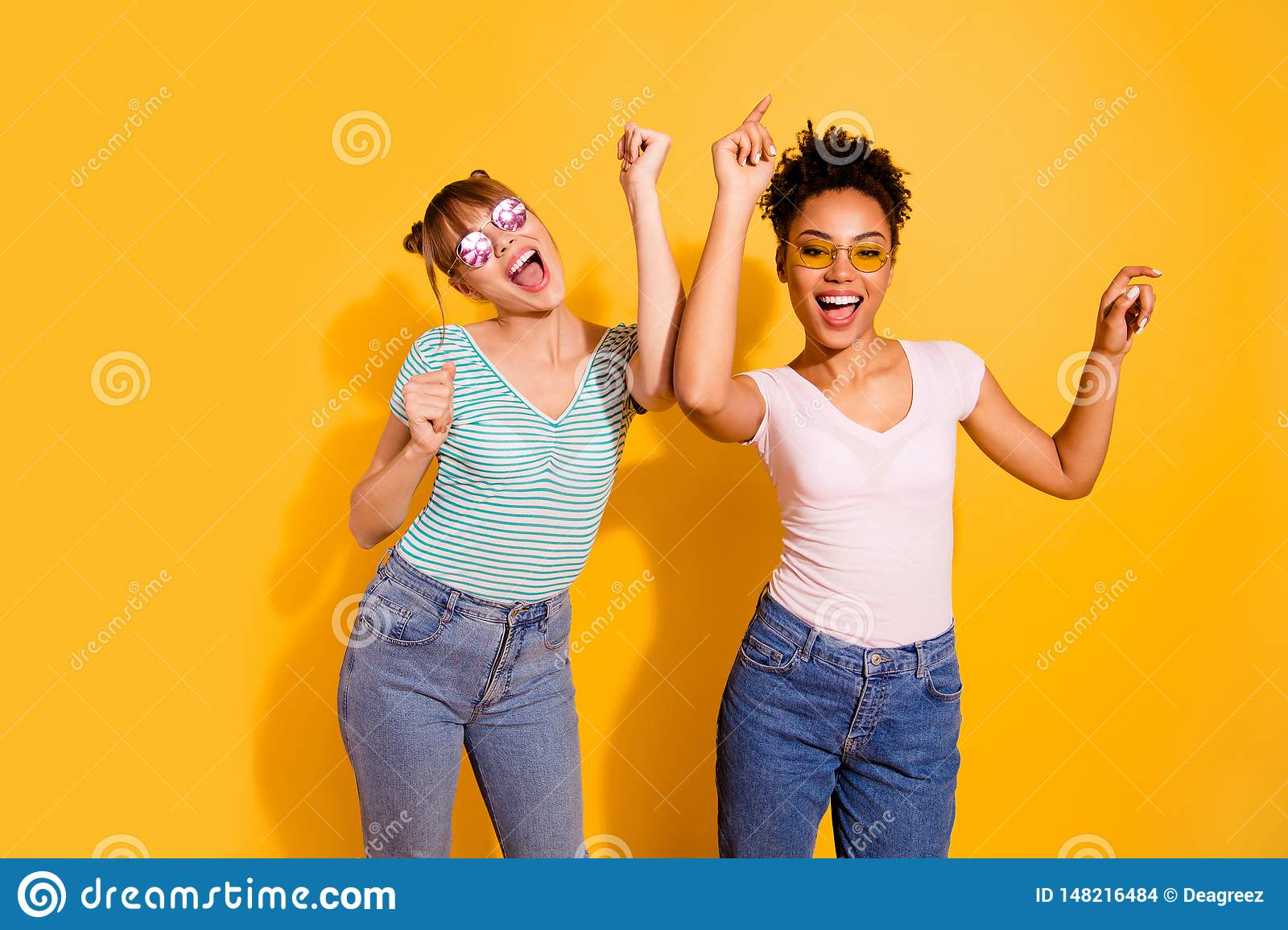 Close up photo beautiful funny she her lady hands arms raised up modern motion different nationalities excited wear sun