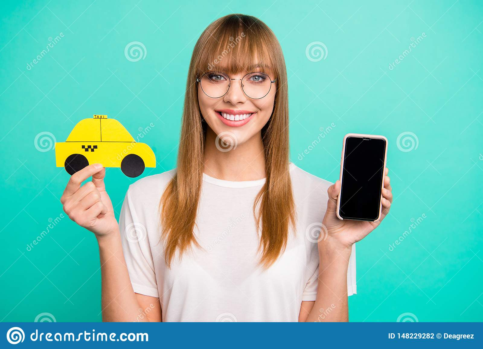 Close up photo beautiful she her lady arm hold telephone paper taxi car advising use user best speed fast service new