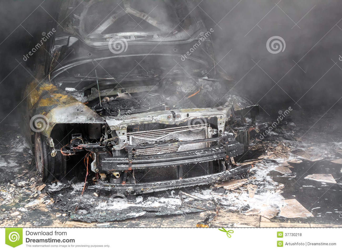 close up photo of a burned out cars royalty free stock photography 37730201. Black Bedroom Furniture Sets. Home Design Ideas
