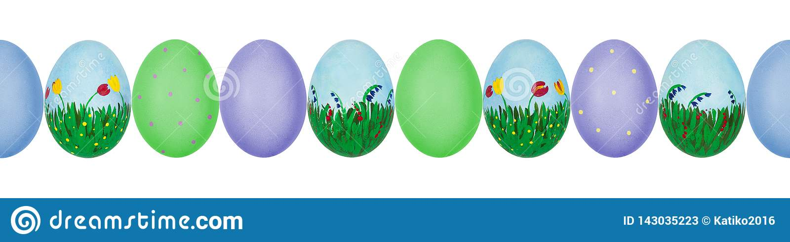 Close up photo of colorful hand painted Easter eggs with eggshell texture in a row. Seamless pattern.