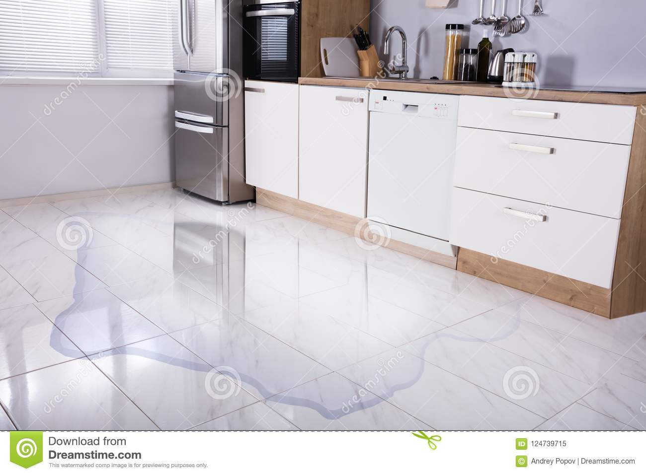 Close Up Of Wet Floor Stock Image Image Of Leakage 124739715