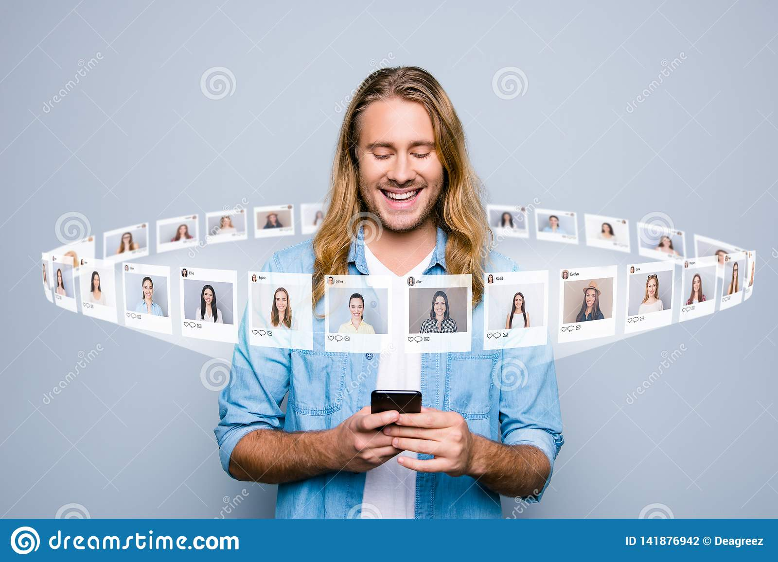 Close up photo interested he him his guy hold telephone read new post influencer blogger page user illustration pictures