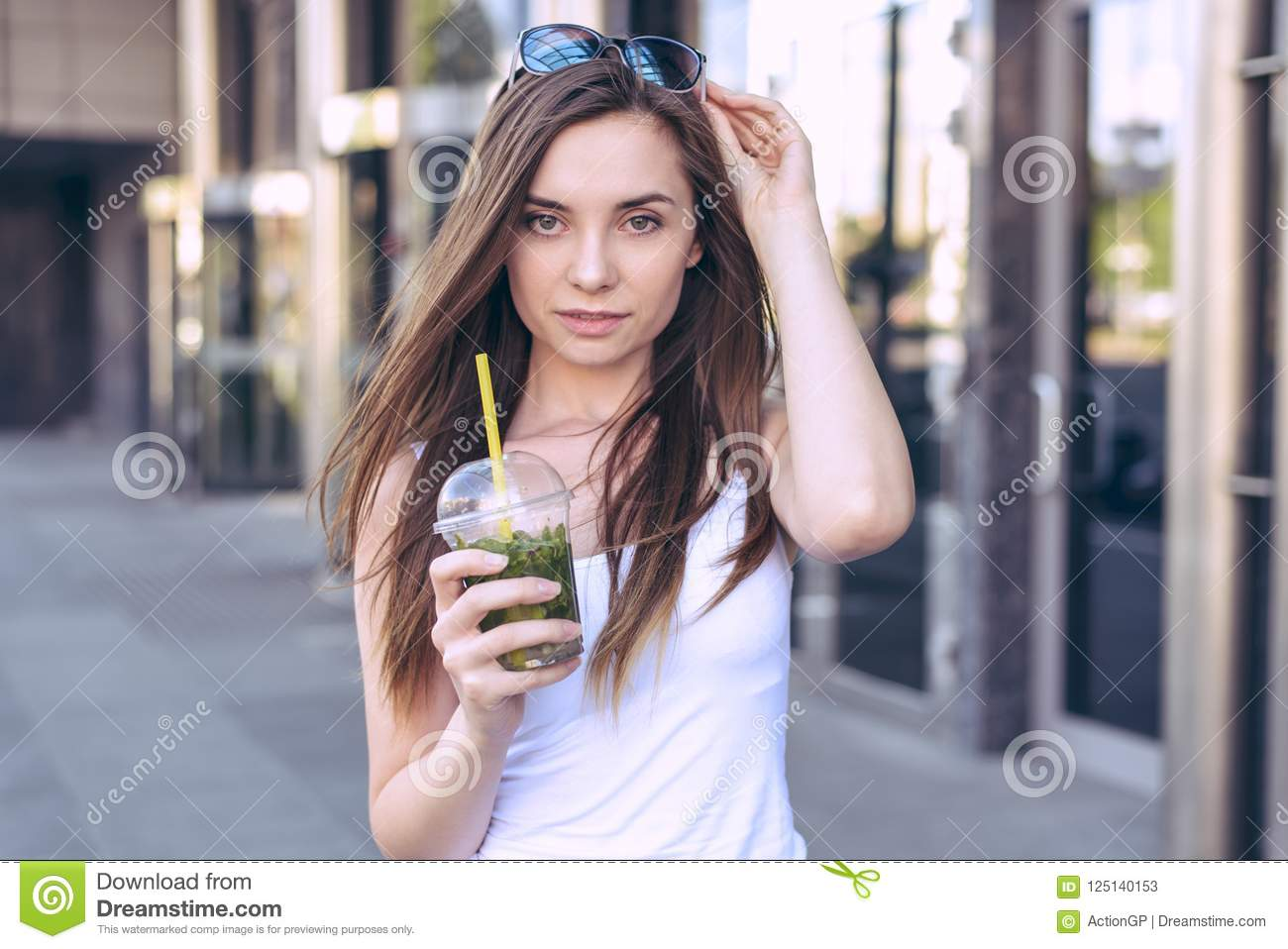 Close up photo portrait of attractive trendy confident flirty coquette lady wearing casual white t-shirt touching glasses on head