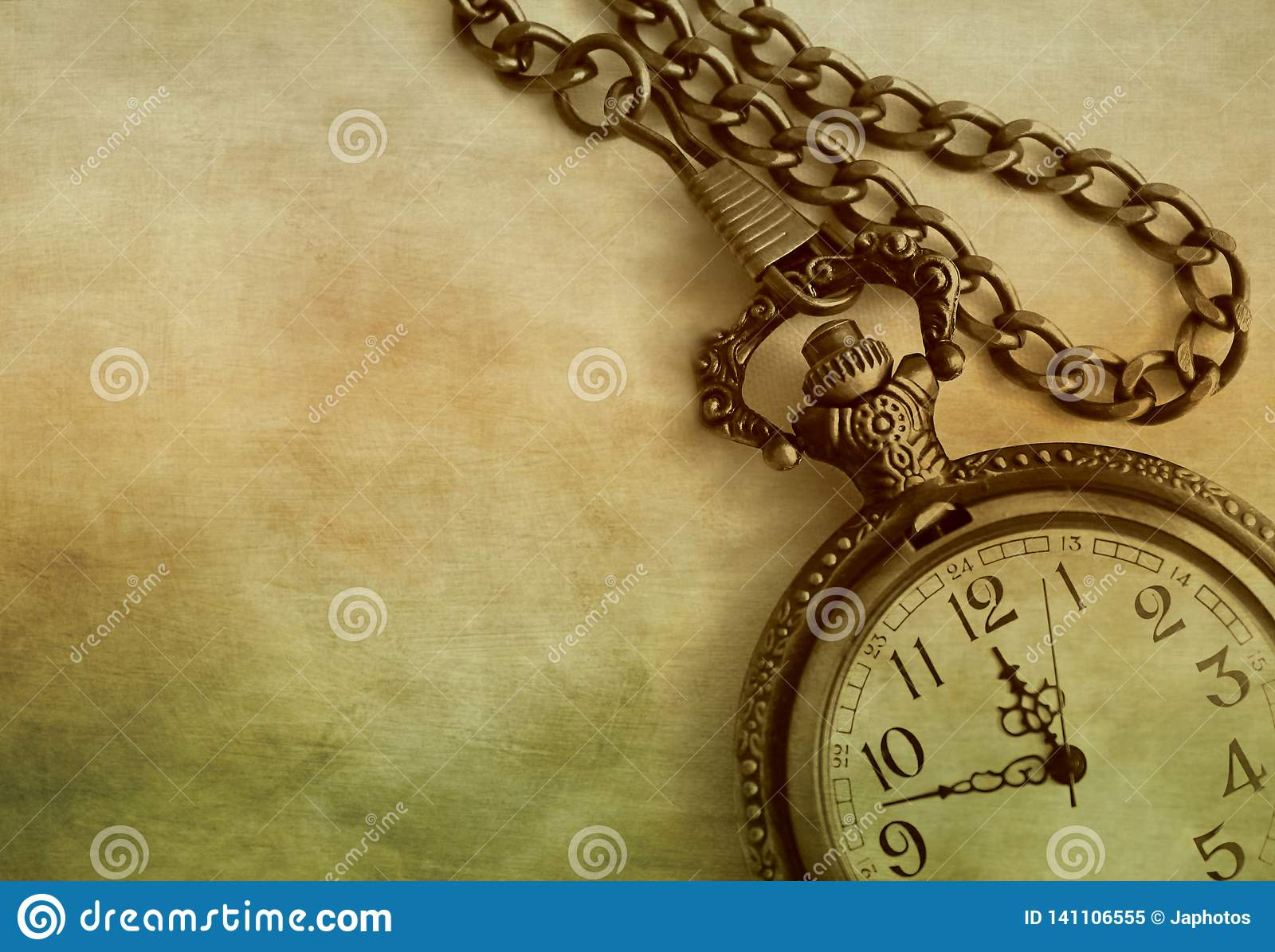 Artistic Close Up Of Antique Pocket Watch And Chain On Colorful Textured Background With Copy Space Stock Image Image Of Brass Bronze 141106555