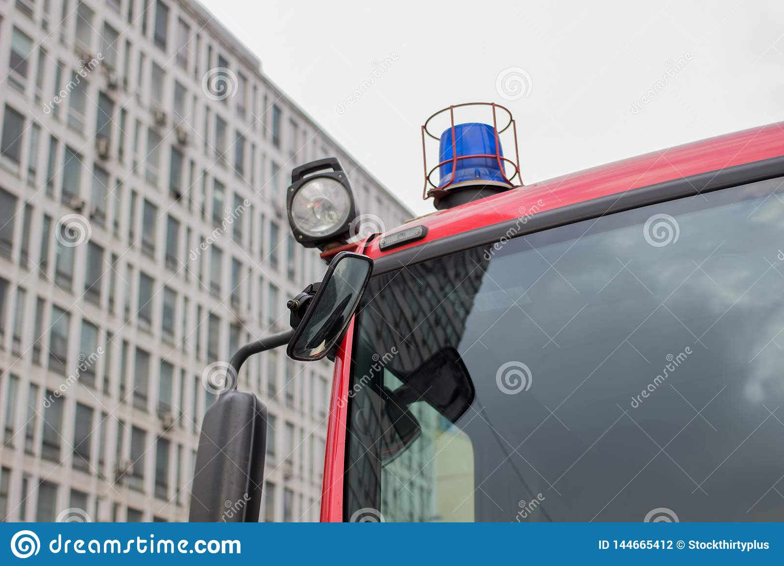Close-up picture of blue lights and sirens on a fire-truck