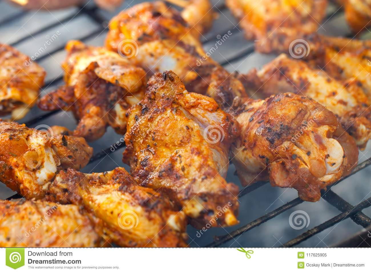 summer barbeque grilled chicken wings stock image image of