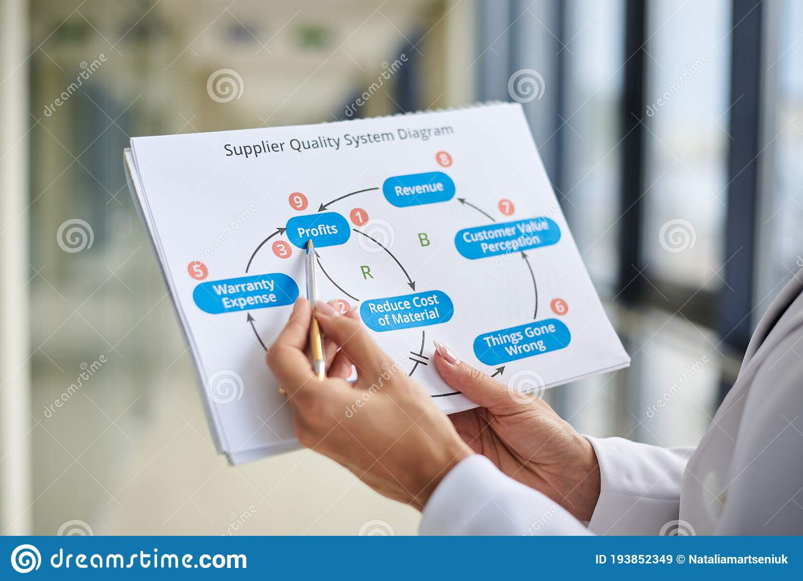 Close-up Picture Of Paper Sheet With Supplier Quality System Diagram On It,  Held In Hands Of Young Businesswoman, Office Worker Stock Image - Image of  informational, businesswoman: 193852349Dreamstime.com
