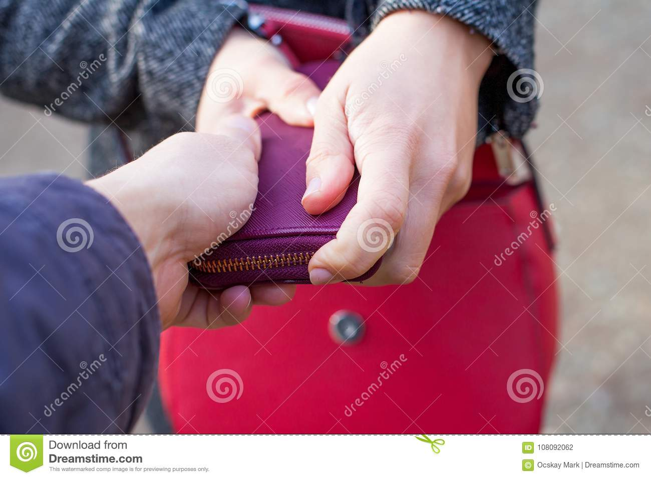Close up pickpocketing outdoor