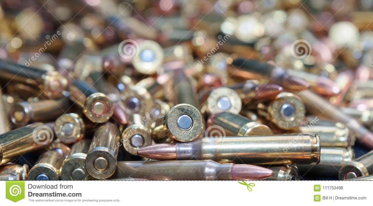 a close up of different calliber bullets stock photo image of