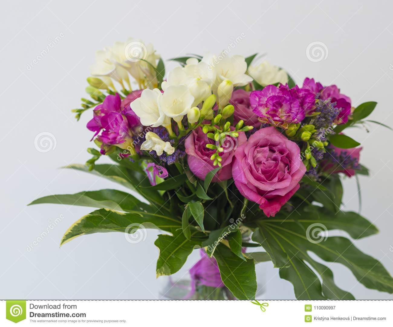 Close up pink rose and white freesia flower bouquet with green l close up pink rose and white freesia flower bouquet with green l izmirmasajfo