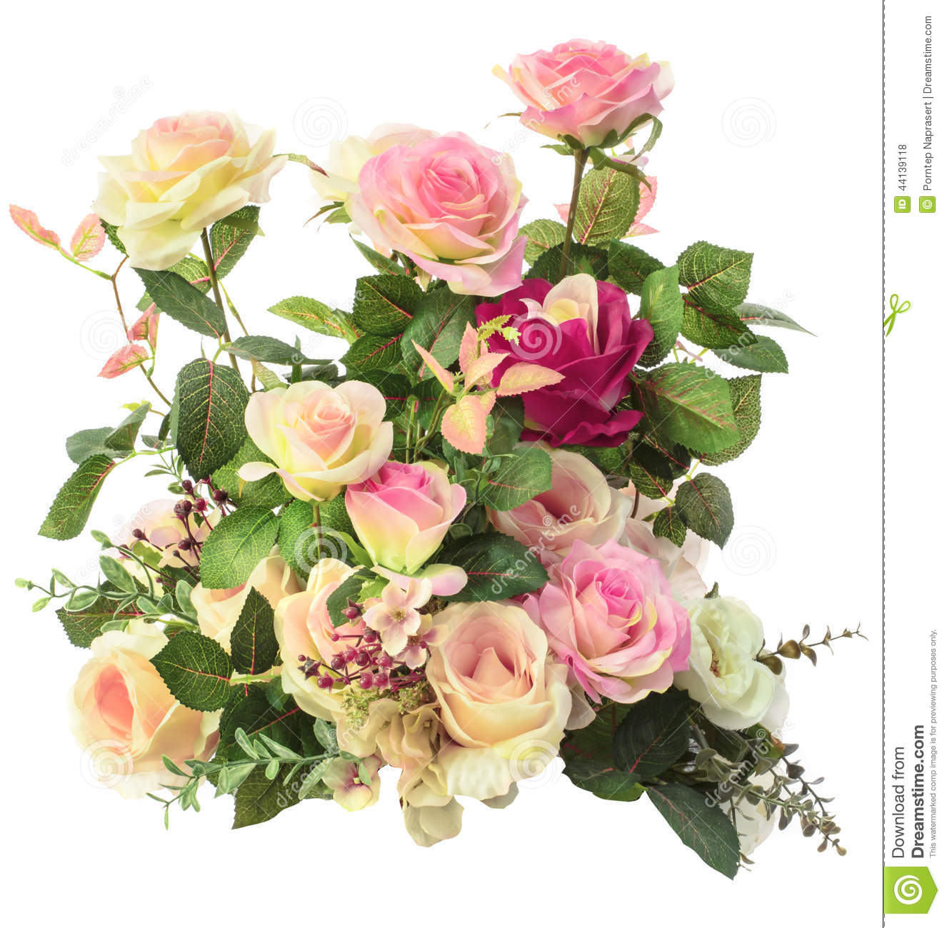 Close Up Of Pink Roses Flowers Bouquet Isolated White Background