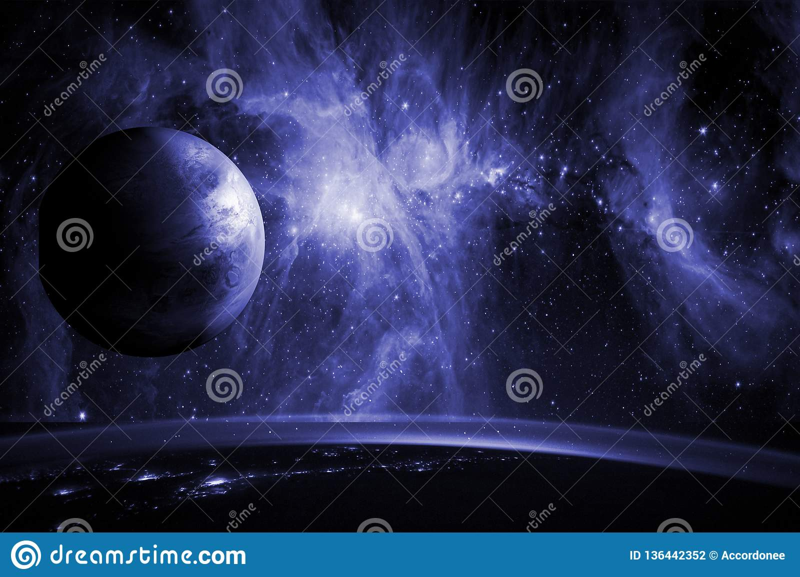 Close up planet earth biosphere in space with stars and galaxy on background. Elements of this image furnished by NASA. f