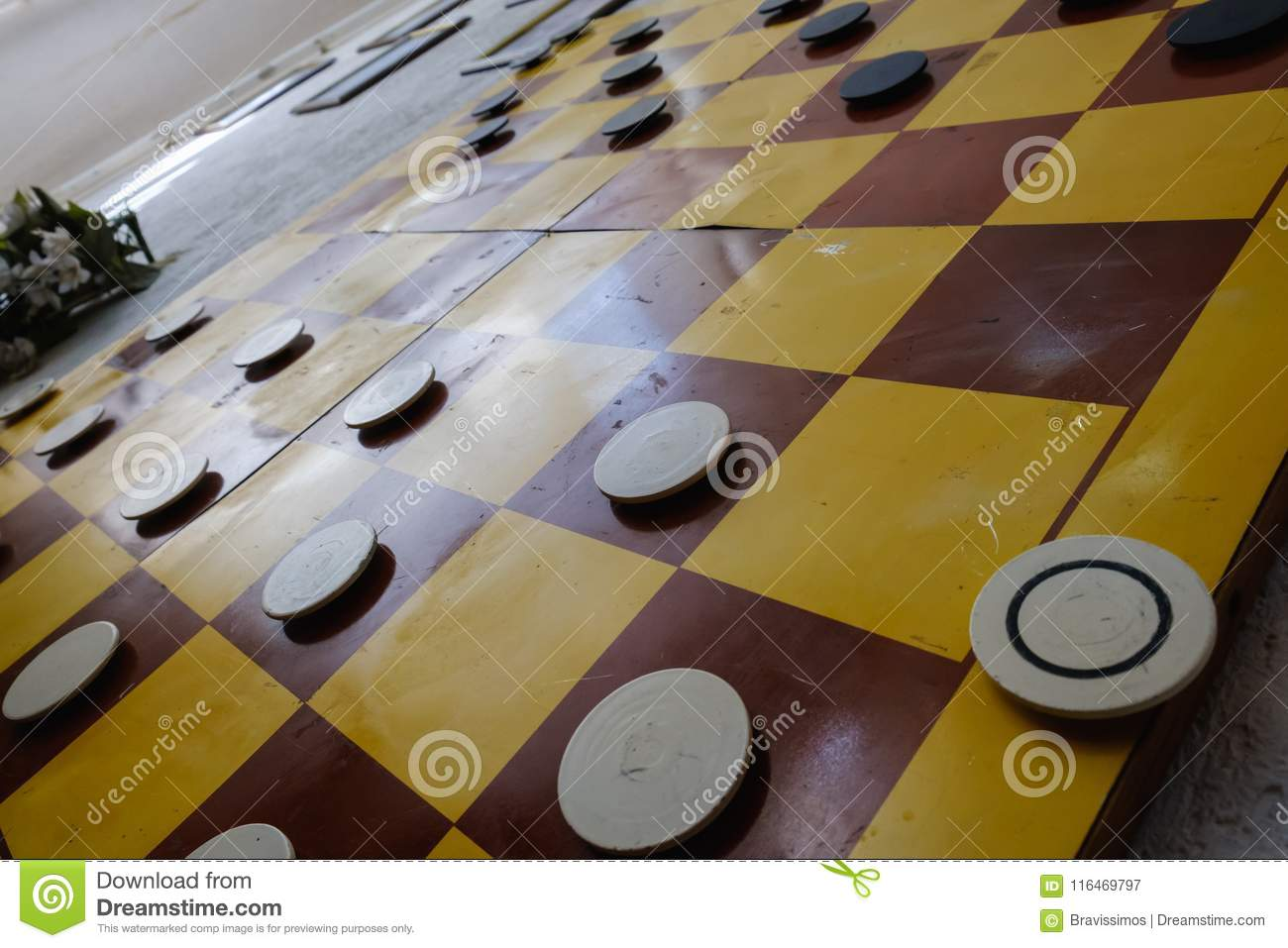 Close up of playing draughts or checkers board game