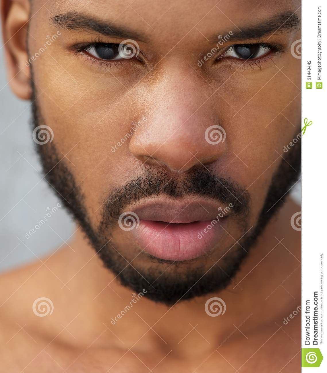 Close up portrait of a african american male model