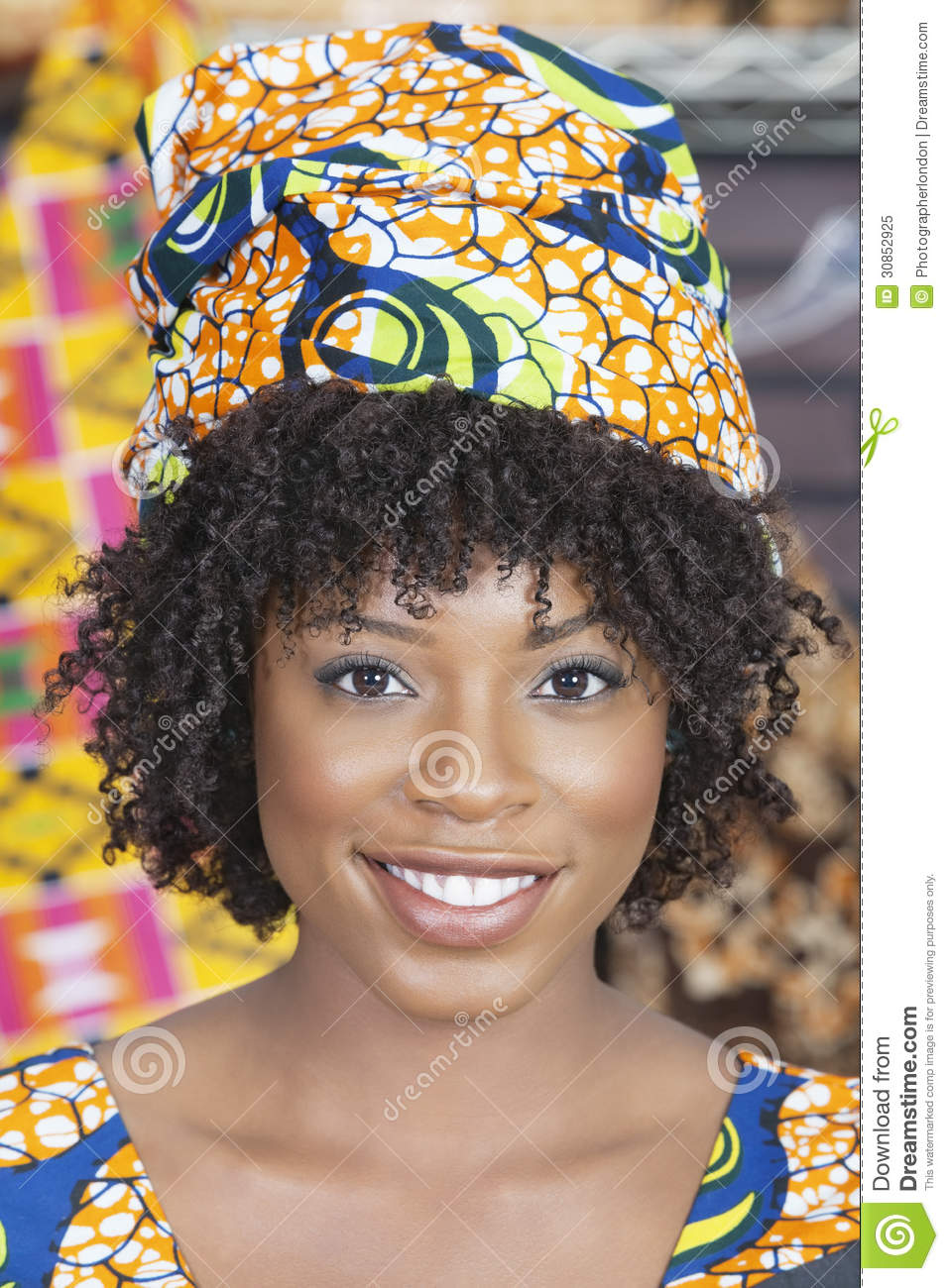 Close-up Portrait Of An African American Woman Wearing Traditional