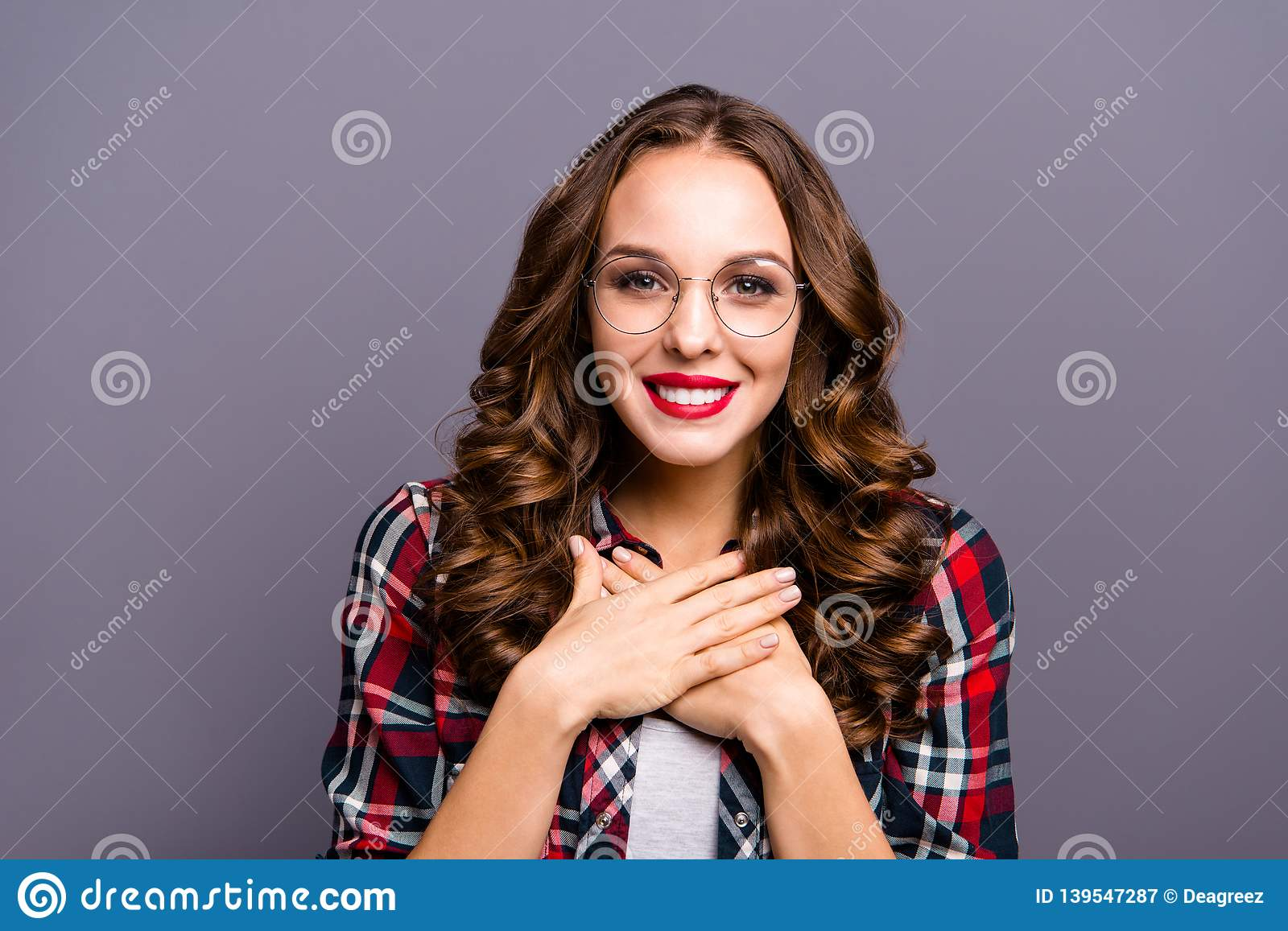Close up portrait of amazing beautiful she her lady overjoyed feelings emotions kindhearted sweet glad wearing specs
