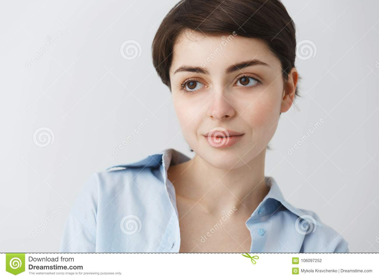 Close Up Portrait Of Beautiful Caucasian Girl With Short Dark Hair And Big Brown Eyes Looking Aside Smiling Gently With Stock Photo Image Of Lifestyle Laugh 106097252