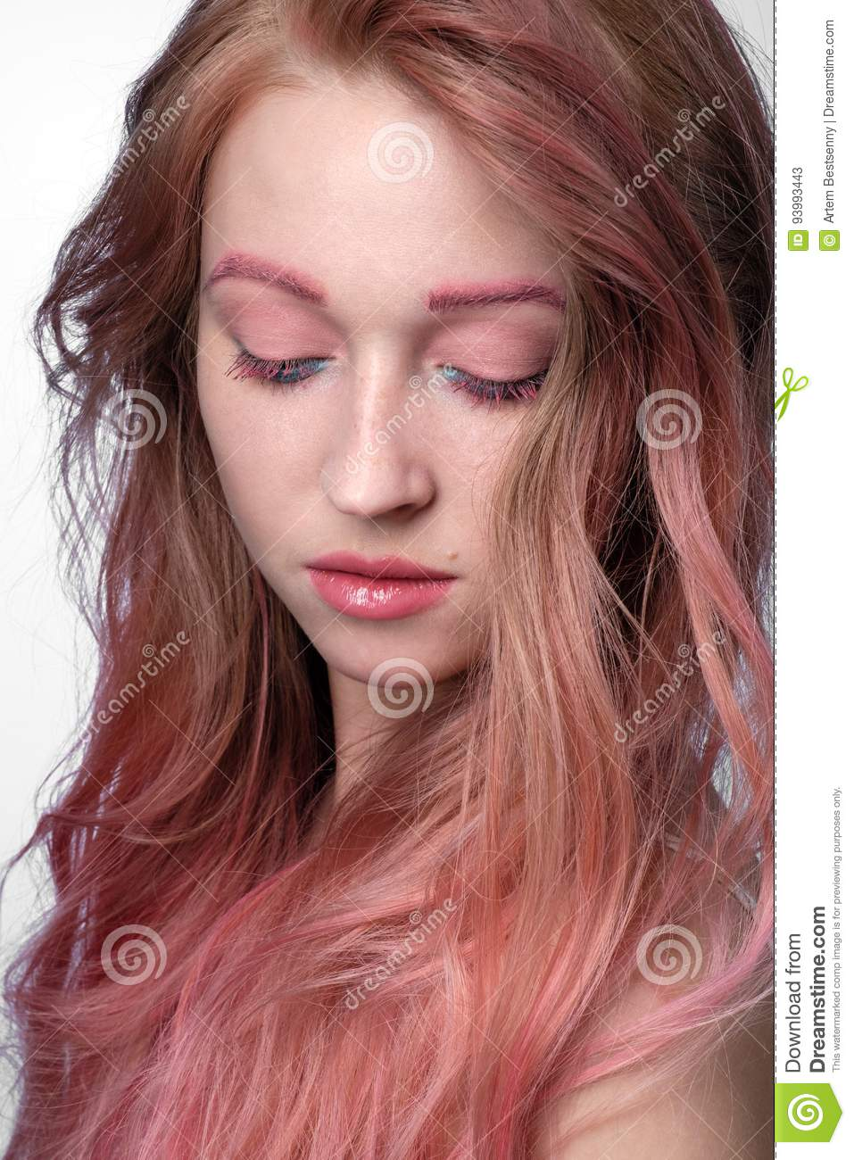 Close Up Portrait Of Beautiful Girl With Pink Hair And Pink Blue