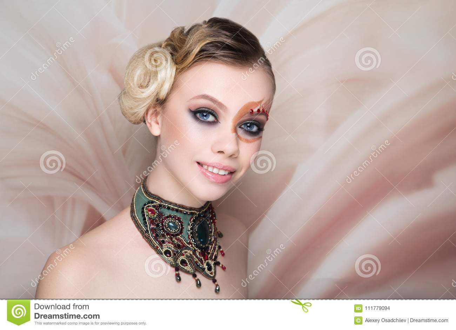 Woman beauty face art make up