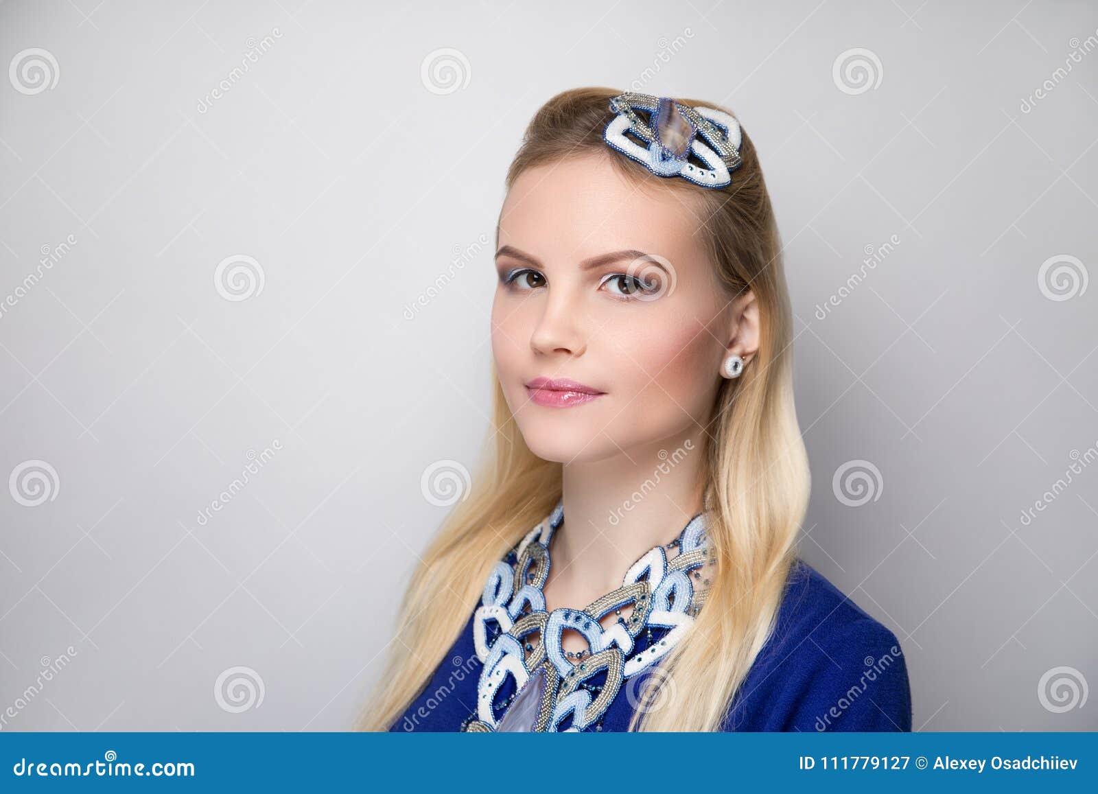 Woman blue white make up