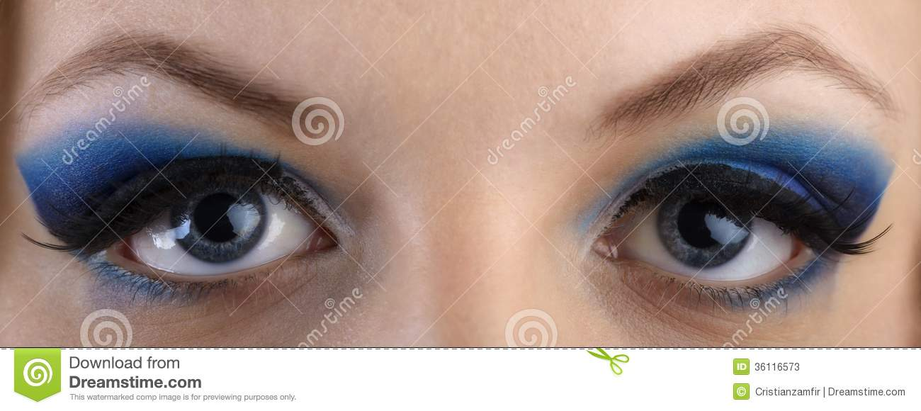 Close Up Portrait Of Beautiful Girls Eye Zone Make Up With Blue