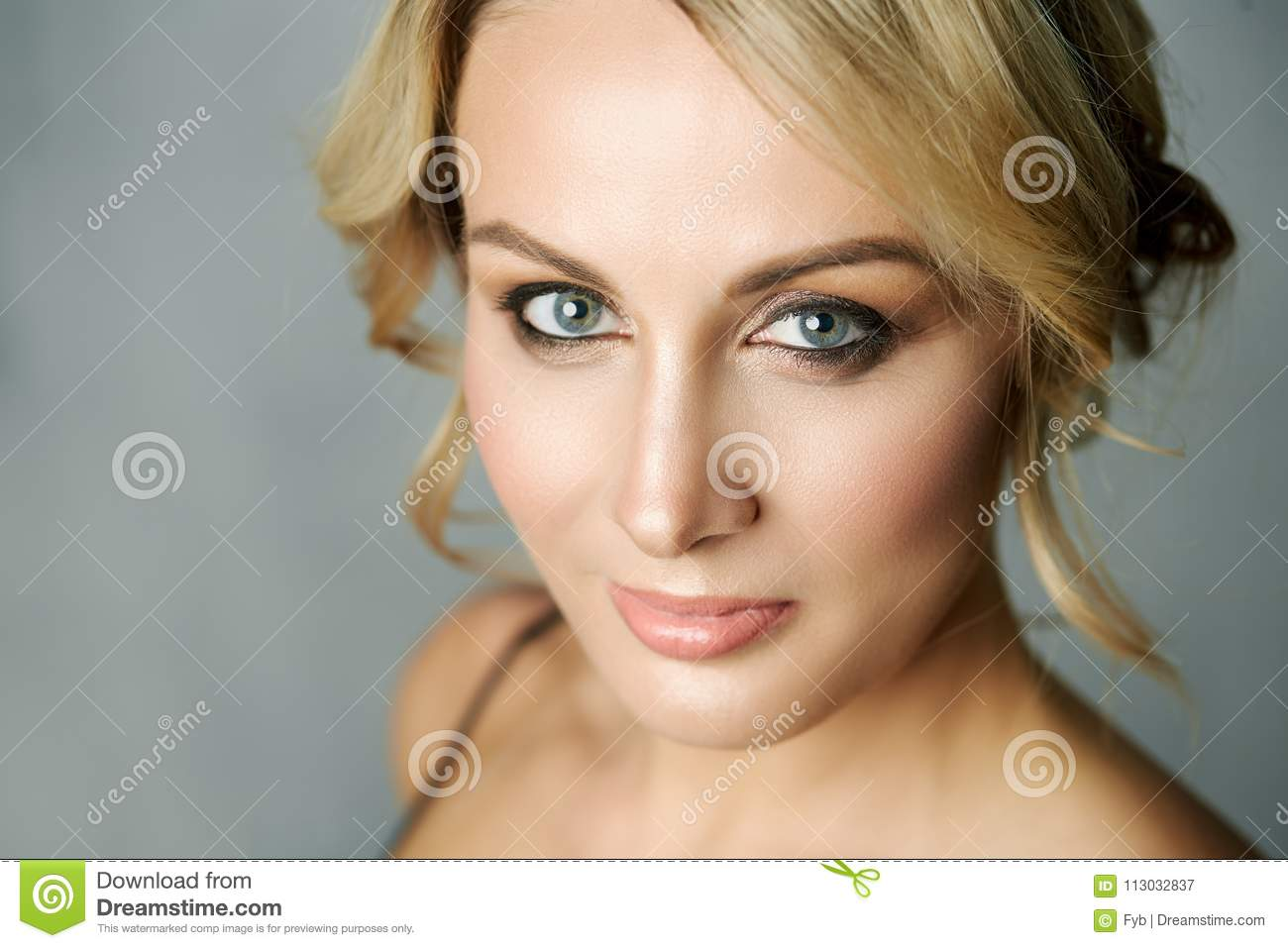 Close up portrait of a beautiful middle age woman