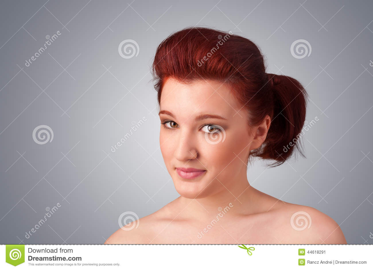 Beautiful Young Naked Woman With Bright Makeup Wearing