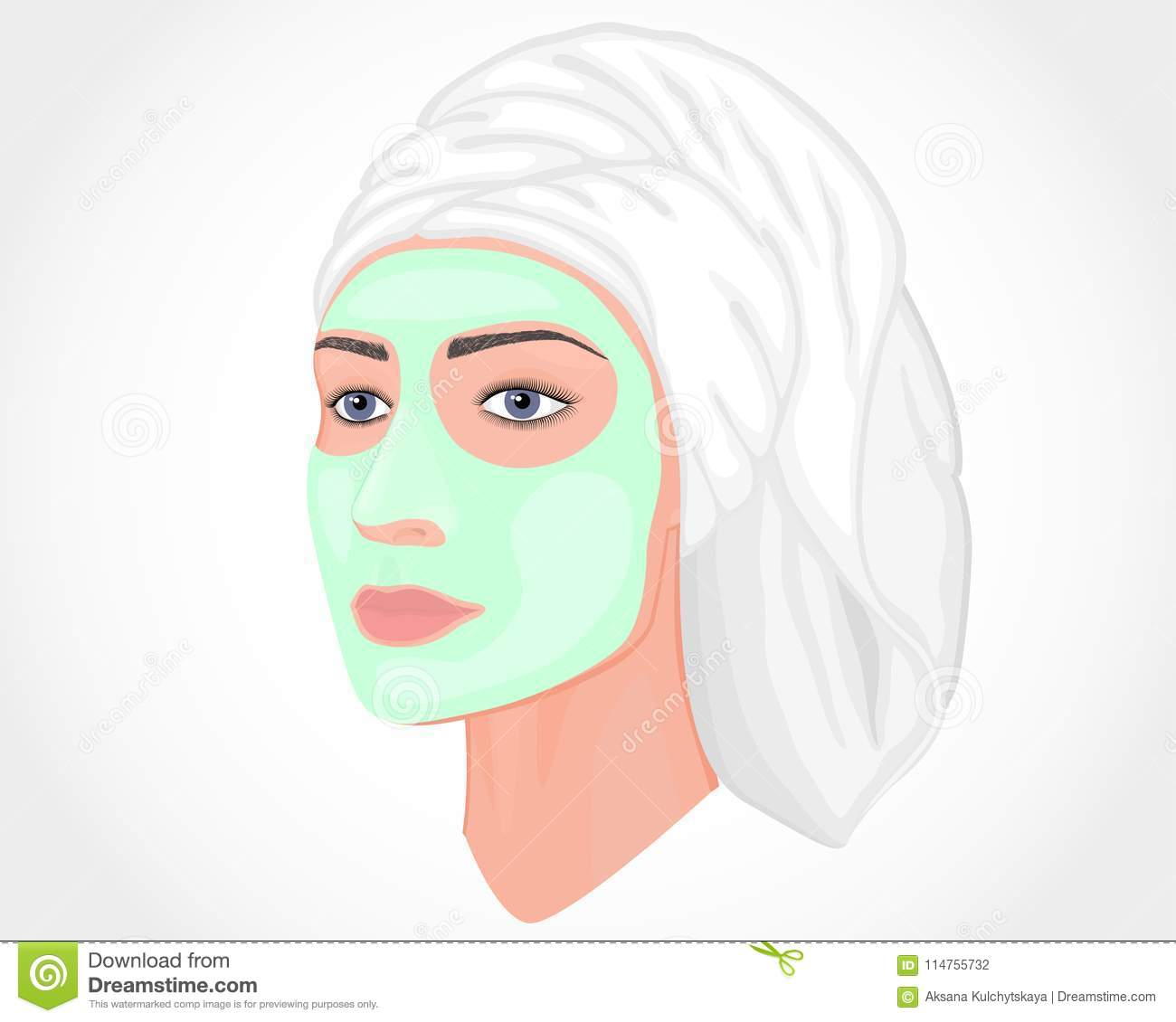 Face Towel Dream Meaning: Plastic Surgery_Woman With Green Mask And Towel On Her