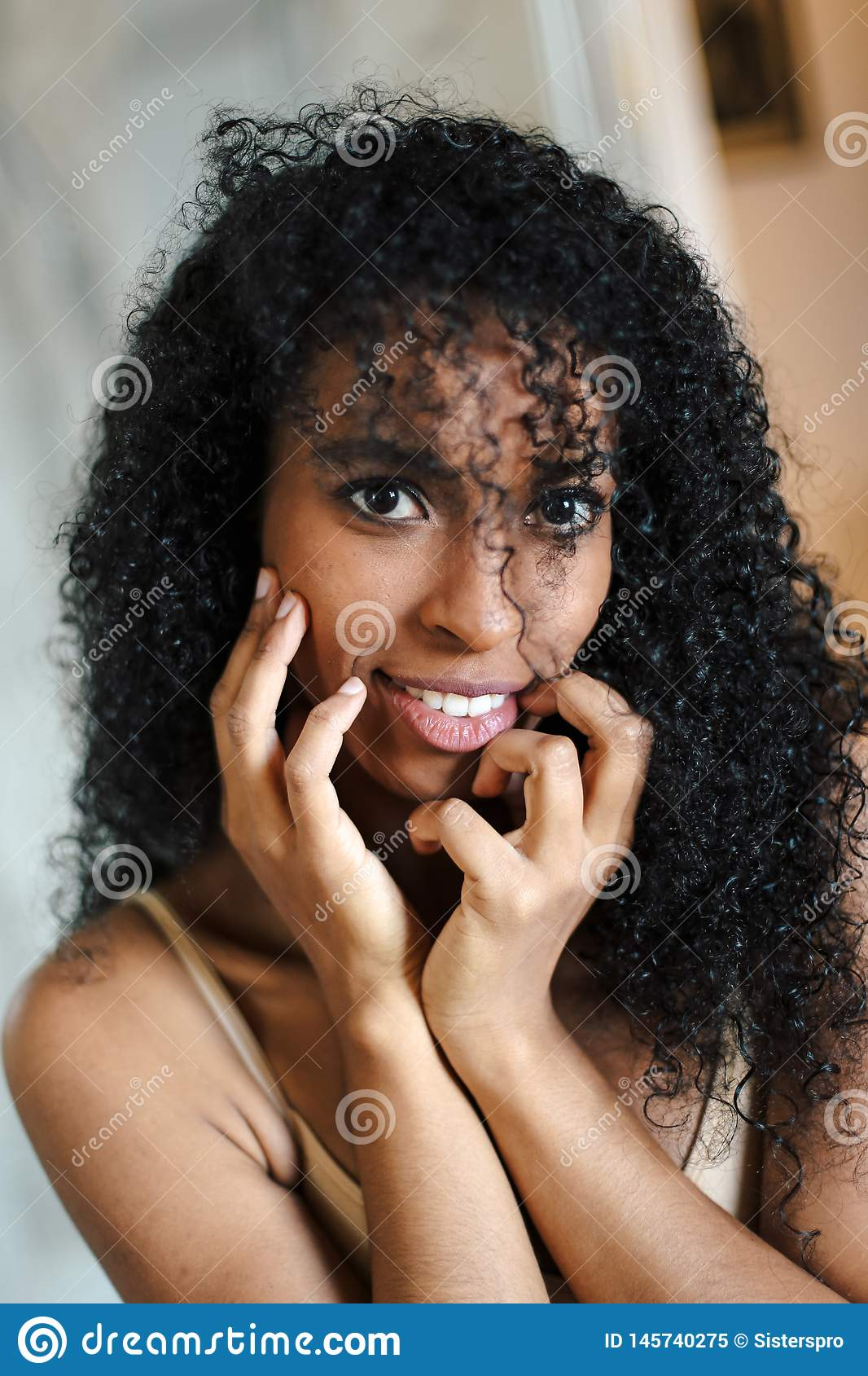 Close Up Portrait Of Cute Afro American Woman With Black Curly
