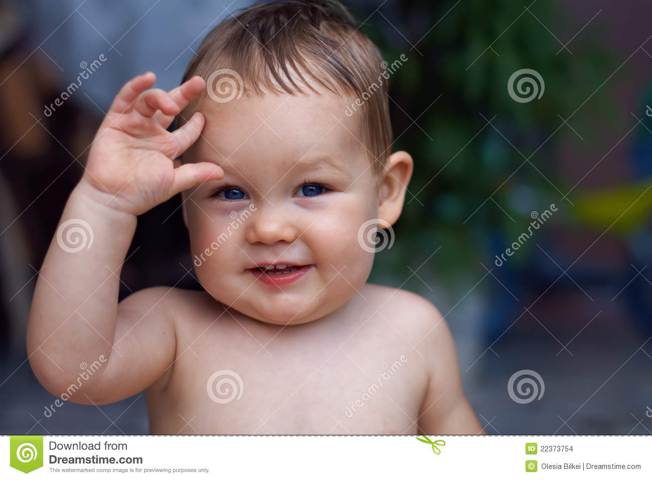Close Up Portrait Of Cute Little Baby Boy Outdoor Stock Photo