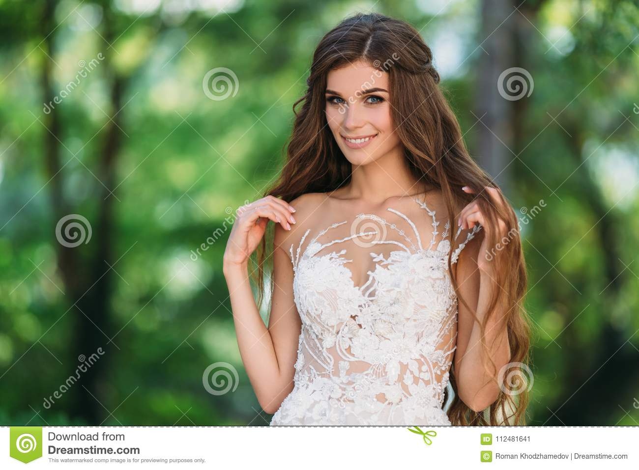 Close Up Portrait Of Cute Young Bride With Long Hairs Dressed In ...