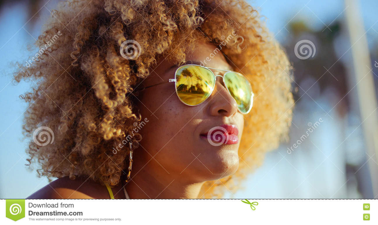 Close Up Portrait of Exotic Girl with Afro Haircut